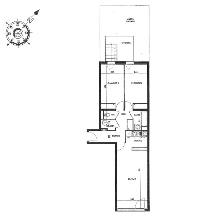 Plan appartement T3 Chartrons