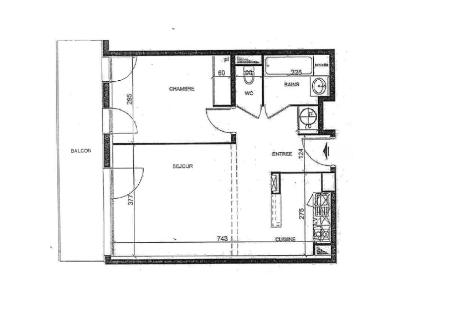 Plan appartement T2 chartrons